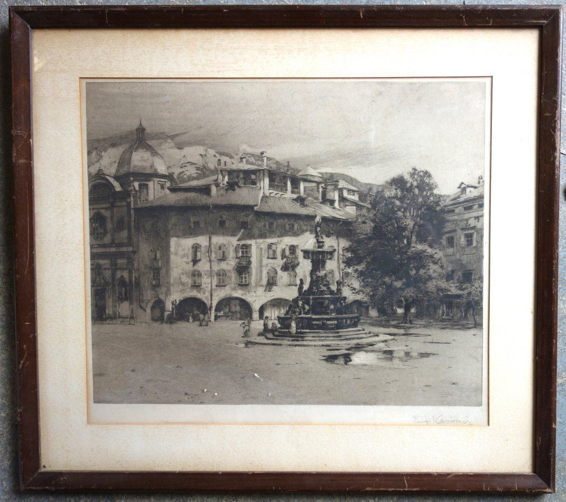 Etching of architectural building and water fountain