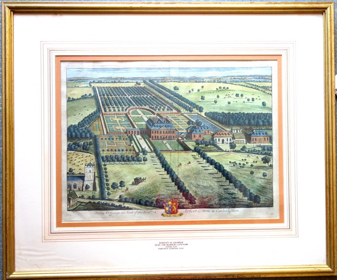 Large folio hand colored 18th century print of a large