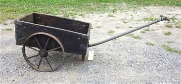Early hand made wooden garden/utility cart in old black