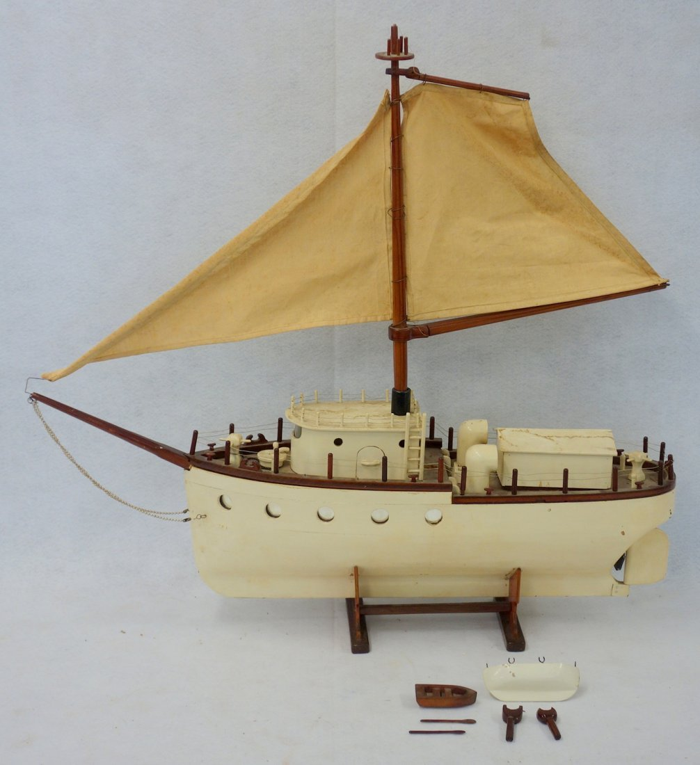"Early 20th century ship model on a stand, 33""L x 31""H,"