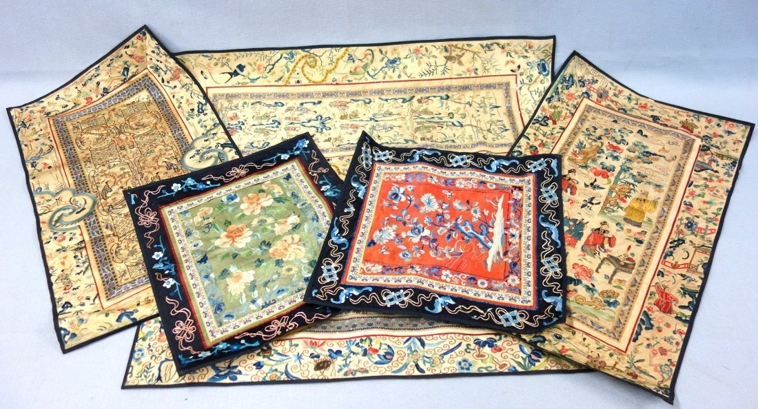 Grouping of six Chinese silk embroideries including