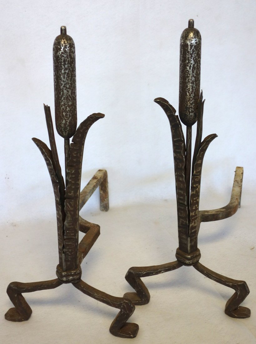 Pair of hand forged arts & crafts iron andirons in the