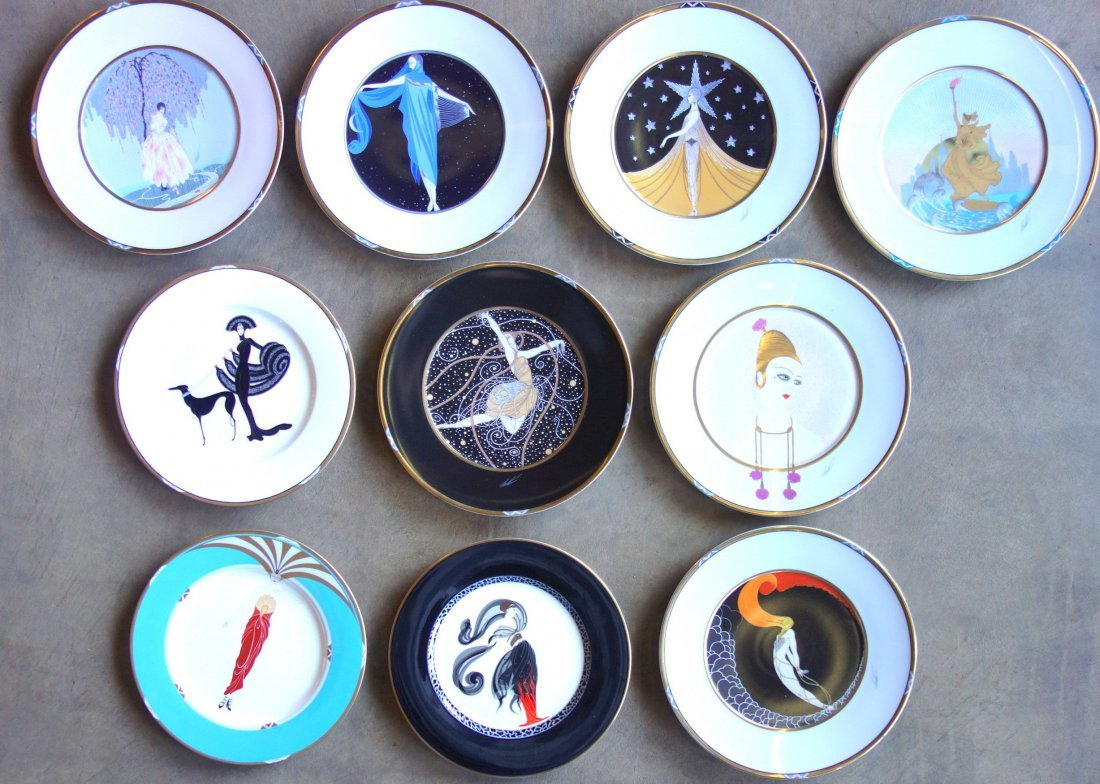 Collection of 10 signed Erte dinner plates, each