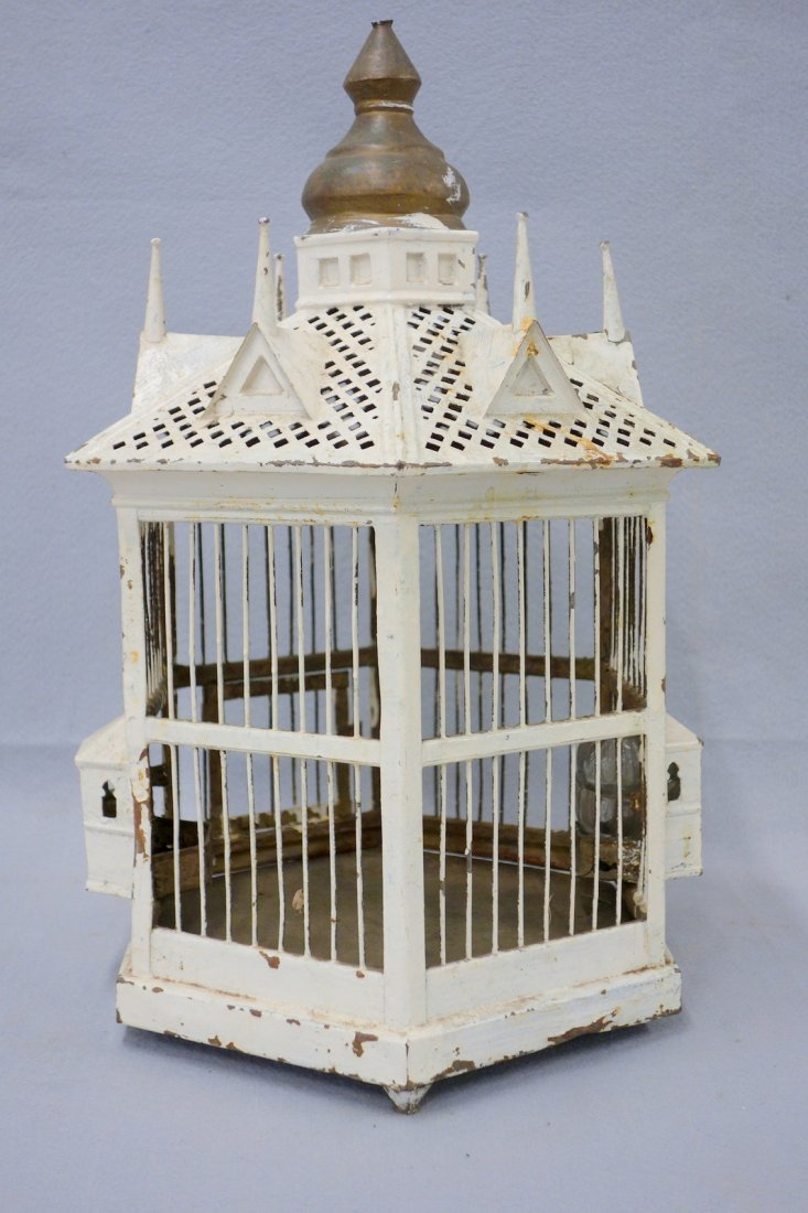 Victorian architectural tin and wood bird cage in old
