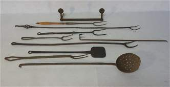 Grouping of 10 pieces of early kitchen wrought iron