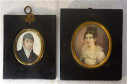 Two miniature W/C framed portraits of man and woman -