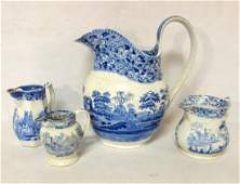 Four blue and white Staffordshire transferware pitchers