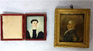Two miniature portraits including a lady wearing a