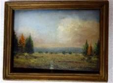 Miniature O/B American landscape - probably Catskill