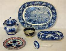 Five pieces of blue and white transferware china