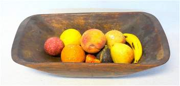 Grouping of 11 pieces of stone fruit including orange