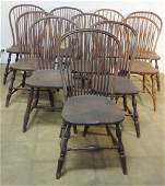 Set of 10 Windsor style hoop back dining room chairs -