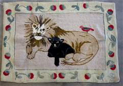 Folk art hooked rug depicting a large lion resting with