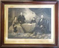 """Large folio steel engraving entitled """"Lincoln Family"""""""