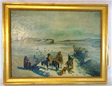 O/C Native American winter scene signed J. Young 1864 -