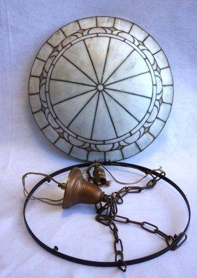 Slag Glass And Leaded Ceiling Dome - Original Holder -