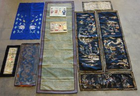 Grouping Of Oriental Mostly Silk Linens Including 3