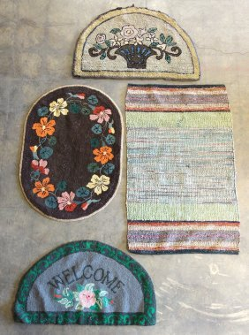 Three Hooked Rugs Including 2 Welcome Rugs With Floral