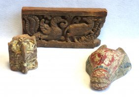 Three Carved Wooden Architectural Fragments Including A