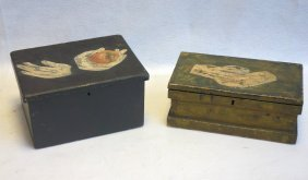 Two 19th Century Document Boxes In Old Paint, Both With