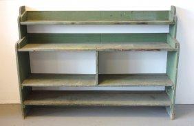 Primitive 4 Tier Bucket Bench In Old Green Paint Having