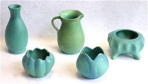 Grouping of 4 pieces Van Briggle green & bluish green