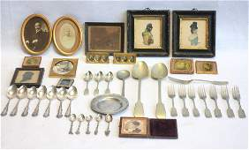 Grouping of mostly silver plate flatware and framed