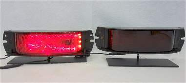 """Two vintage auto/bus """"Stop"""" lights in red with painted"""