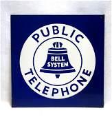 """Old enameled iron telephone sign """"PUBLIC TELEPHONE /"""
