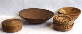Four Indian Baskets Including 2 Sewing Baskets, One Rye