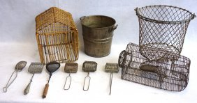 Four Country Items Including Wire Animal Trap, Wire