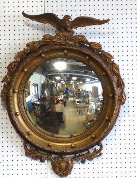 Large Ornate 19th Century Convex Wall Mirror Having A