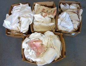 Four Boxes Of Mostly Table & Bed Covers, Napkins,