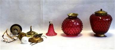 Two Victorian hobnail cranberry hall lights