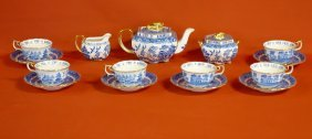 Porcelain Blue Willow Pattern Tea Set By Copeland Spode