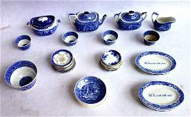 Grouping of 36 pieces of blue and white transferware