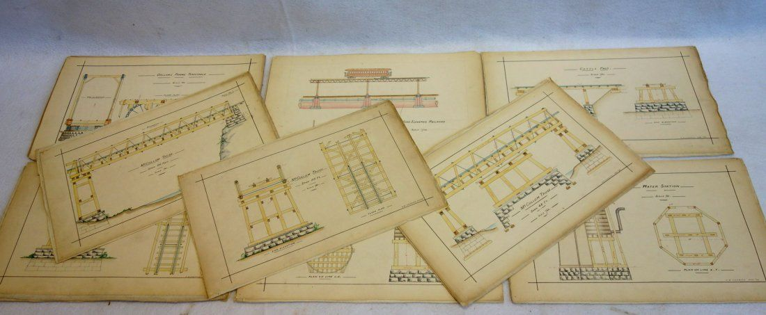 Grouping of 12 architectural pen & ink and  W/C