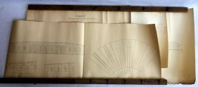 Grouping Of 4 Architectural Hand Drawings Depicting