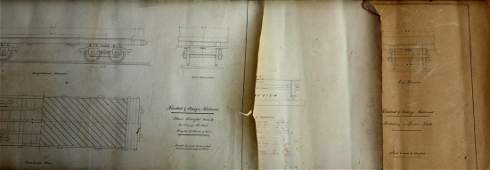 Grouping of 3 architectural drawings of railway cars