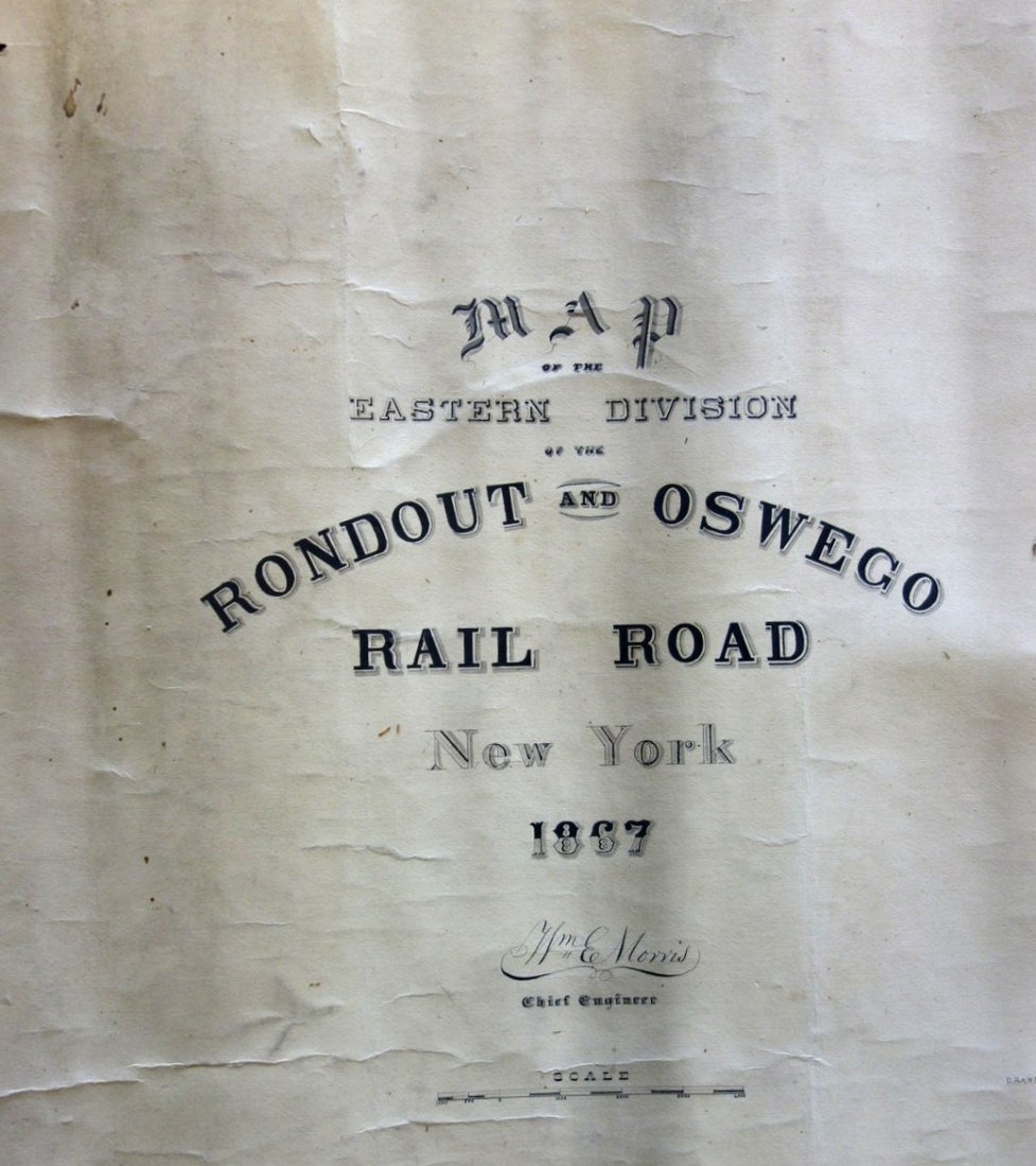 Large hand drawn and hand colored railroad map entitled