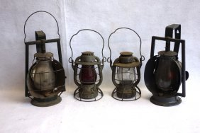 Grouping Of 4 Dietz Rr Lanterns Including A