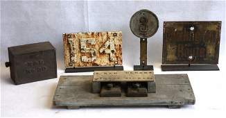 Grouping of 5 railroad related articles including cast