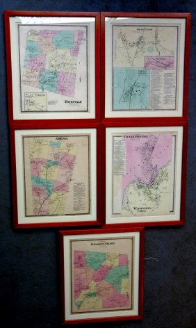 Five Framed Dutchess County Maps, Probably From Beers