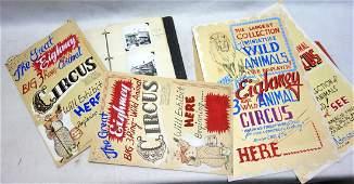 Grouping of circus related items including album of