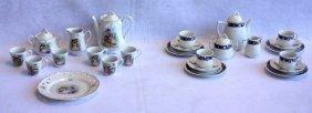 Two German Porcelain Doll Tea Sets, One 15 Piece Set