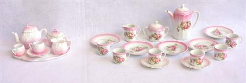 Two porcelain doll tea sets, German, late 19th century,