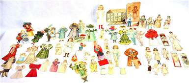 Grouping of paper and cardboard dolls and paper cut