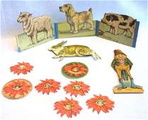 Grouping of paper and cardboard doll related articles