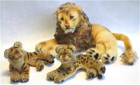 Grouping of 3 Steiff animals including reclining lion