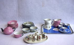 Four Partial Doll Tea Sets Including Enameled 4 Cups